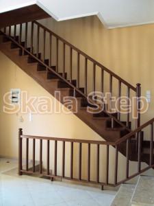 σκάλα ίσια ξύλινη σκάλα εναέρια δρύινη